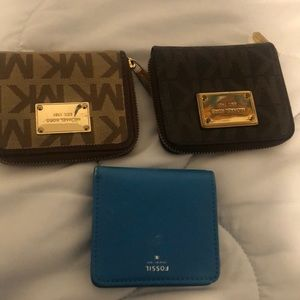 Two Mk wallets & one fossil